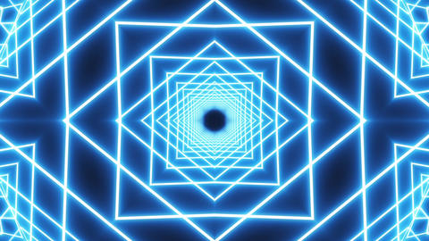 Loop blue neon tunnel background Animation