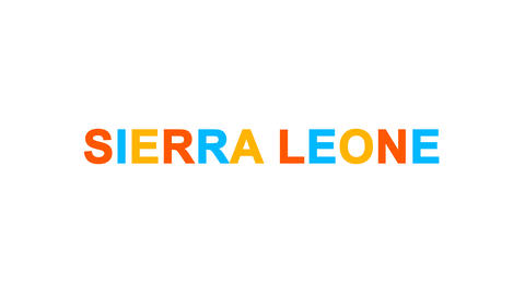 country name SIERRA LEONE from letters of different colors appears behind small Animation