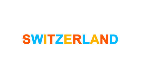 country name SWITZERLAND from letters of different colors appears behind small Animation