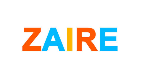 country name ZAIRE from letters of different colors appears behind small Animation