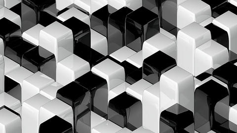 Abstract geometric back and white cubes, optical Illusion, computer generated 3D Footage