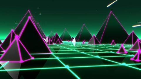 Fantasy flight through VJ 80's pyramidal scene with meteors and night starry sky Animation