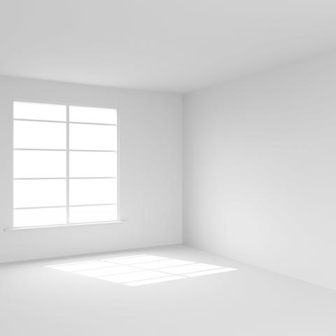 White room with window 3D render Photo