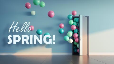 Balloons fly away through open door Photo