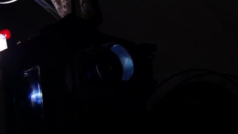 Vintage Retro Film cinema Projector Man is adjusting the... Stock Video Footage