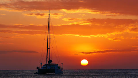 Luxury yacht Boat floating in the andaman sea with sunset background in Footage