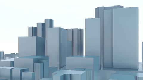 Minimalism abstract 3D Tokyo city skyscrapers Animation