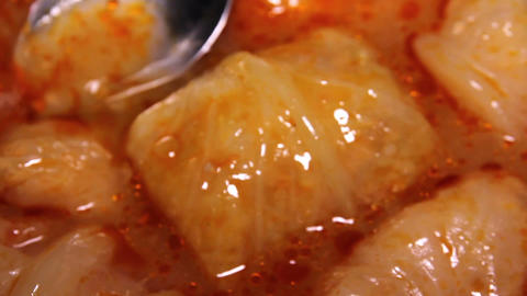 Cabbage Rolls Cooking Close Up Live Action