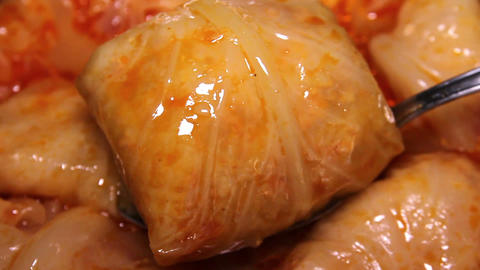 Cooking Cabbage Rolls Close Up Live Action