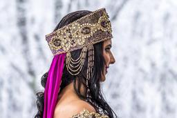 Beautiful young oriental bride preparing for wedding Photo