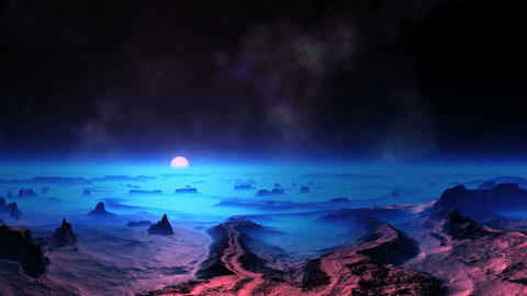 Blue Sunset on Alien Planet Animation