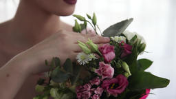 Sexy beautiful girl with flowers Footage