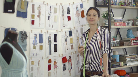 Fashion designer at home studio Footage
