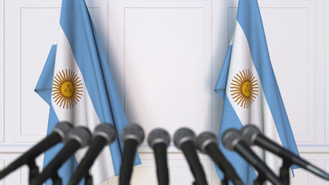 Argentinian official press conference featuring flags of Argentina Footage