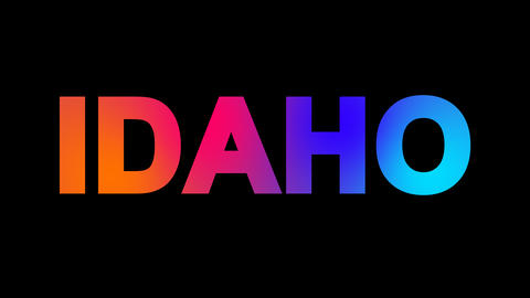 State Name IDAHO multi-colored appear then disappear under the lightning strikes Animation