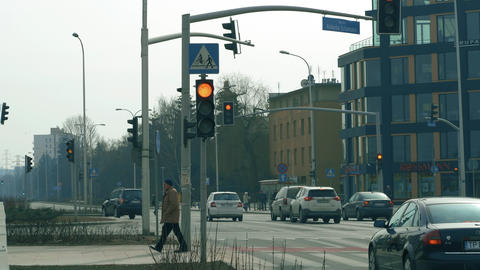 WARSAW, POLAND - MARCH 5, 2018. City street traffic lights at road intersection Footage