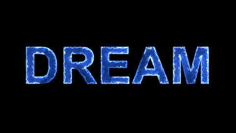 Blue lights form luminous text DREAM. Appear, then disappear. Electric style Animation