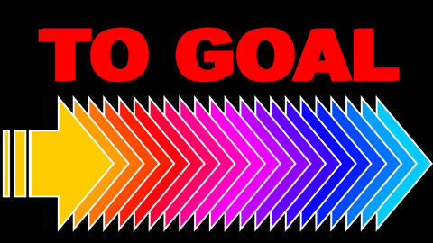 To goal, motivation business video with red headline and colorful arrows GIF
