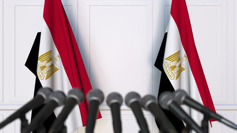 Egyptian official press conference featuring flags of Egypt Footage