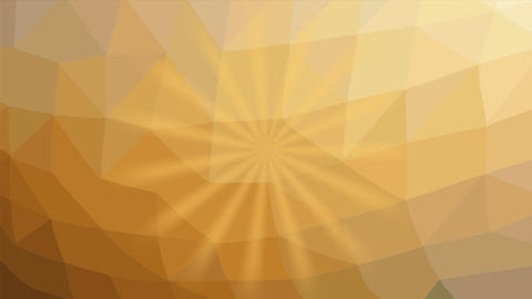 Yellow rays flashing and rotating on light yellow polygonal background. Abstract Animation