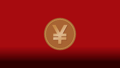 Japanese currency yen smybole presented on gold goin, animation with zoom, Animation