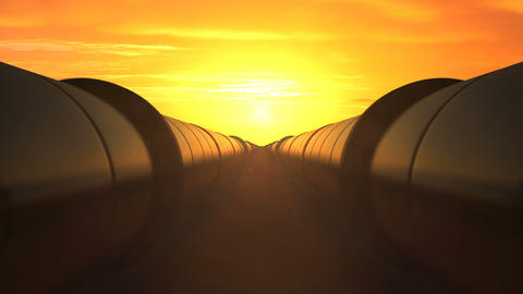 2 oil pipes against sunset, loop Animation