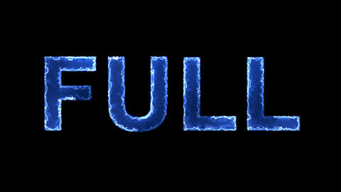 Blue lights form luminous text FULL. Appear, then disappear. Electric style Animation