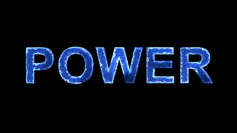 Blue lights form luminous text POWER. Appear, then disappear. Electric style Animation