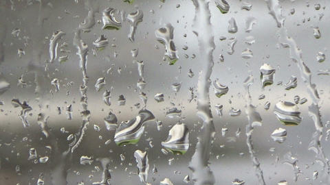 Raindrops dripping on the window glass and a man walking his pet dog in the rain Footage