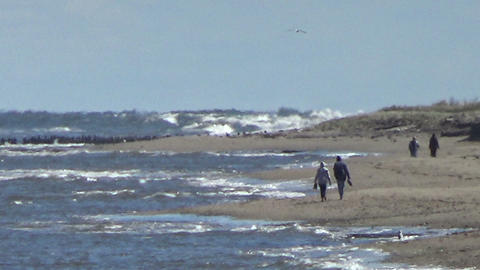 Ocean Beach Shoreline With Waves And People Walking On A Windy Day stock footage