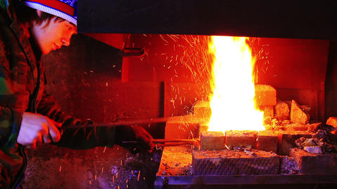 Forging Fire For Heating Metal Footage