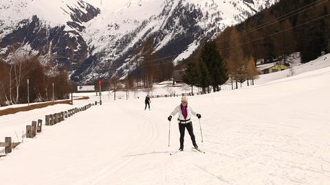 skiing in the snow Footage