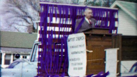 1959: Baptist church preacher pulpit podium parade float Footage