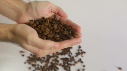 Adult man hands holding coffee grains - Inside close up of adult man hands holdi Footage