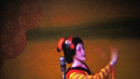 1956: Kabuki theater Geisha women dance sing microphone Footage