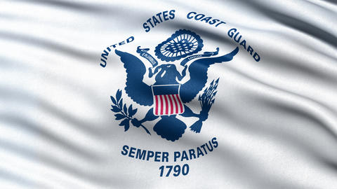 4K United States of America Coast Guard flag waving in the wind Animation