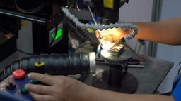 CNC Laser cutting of metal, modern industrial technology. Small depth of field. Footage