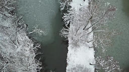 Flying over a typical winter landscape in Germany Footage