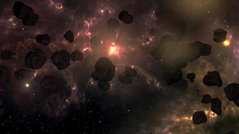 4K Asteroid Field in Outer Space Galaxy 5 Animation