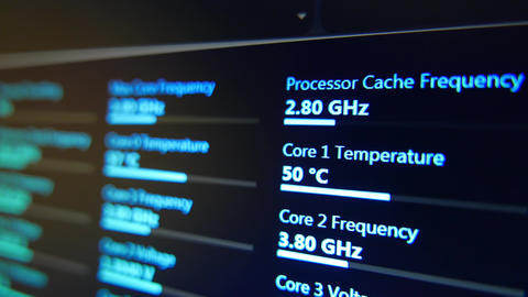 4K Computer System Monitor CPU Control Dolly Motion 2 Stock Video Footage