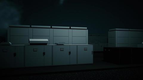 4K NAS Battery Park Energy Storage Station at Night Photorealistic 3D Animation Animation