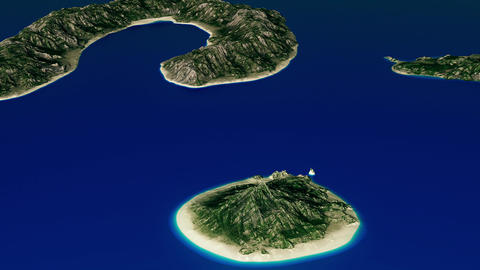 4K Simulating Ocean Covering Small Tropical Islands Aerial 3D Animation 2 Animation