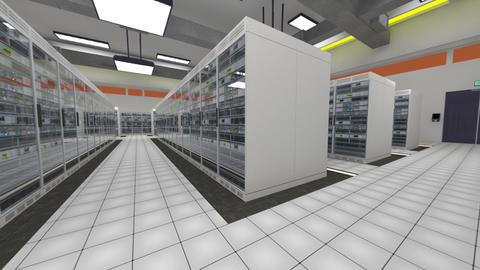 Data Center Server Room Cluster Farm 3D Animation 10 loop Animation