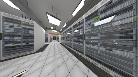 Data Center Server Room Cluster Farm 3D Animation 11 loop Animation