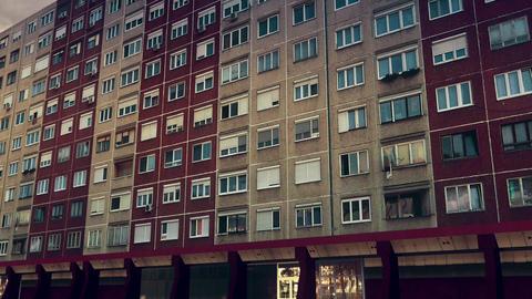 Eastern European Panel Plattenbau Block Building Establishing Shot 3D Animation Animación