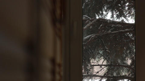 Snow Outside the Window Footage