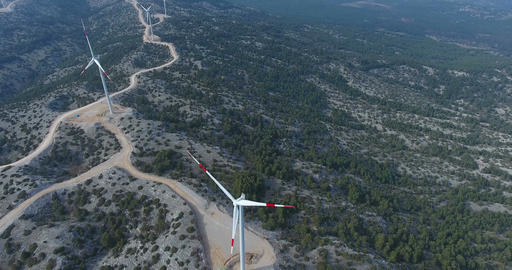 Top view of Huge Wind Turbines Footage
