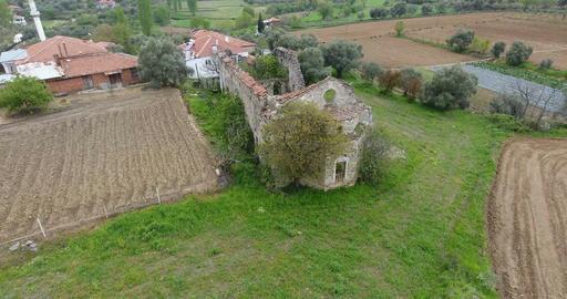 Ruined Church Aerial Footage Mugla Turkey Footage
