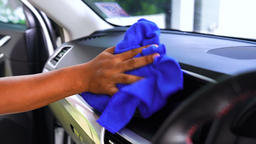 Auto service staff cleaning car interior Stock Video Footage