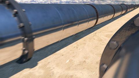2 oil pipes in desert, loop CG動画素材